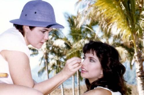 Linda Lockwood applying makeup at a film shoot.